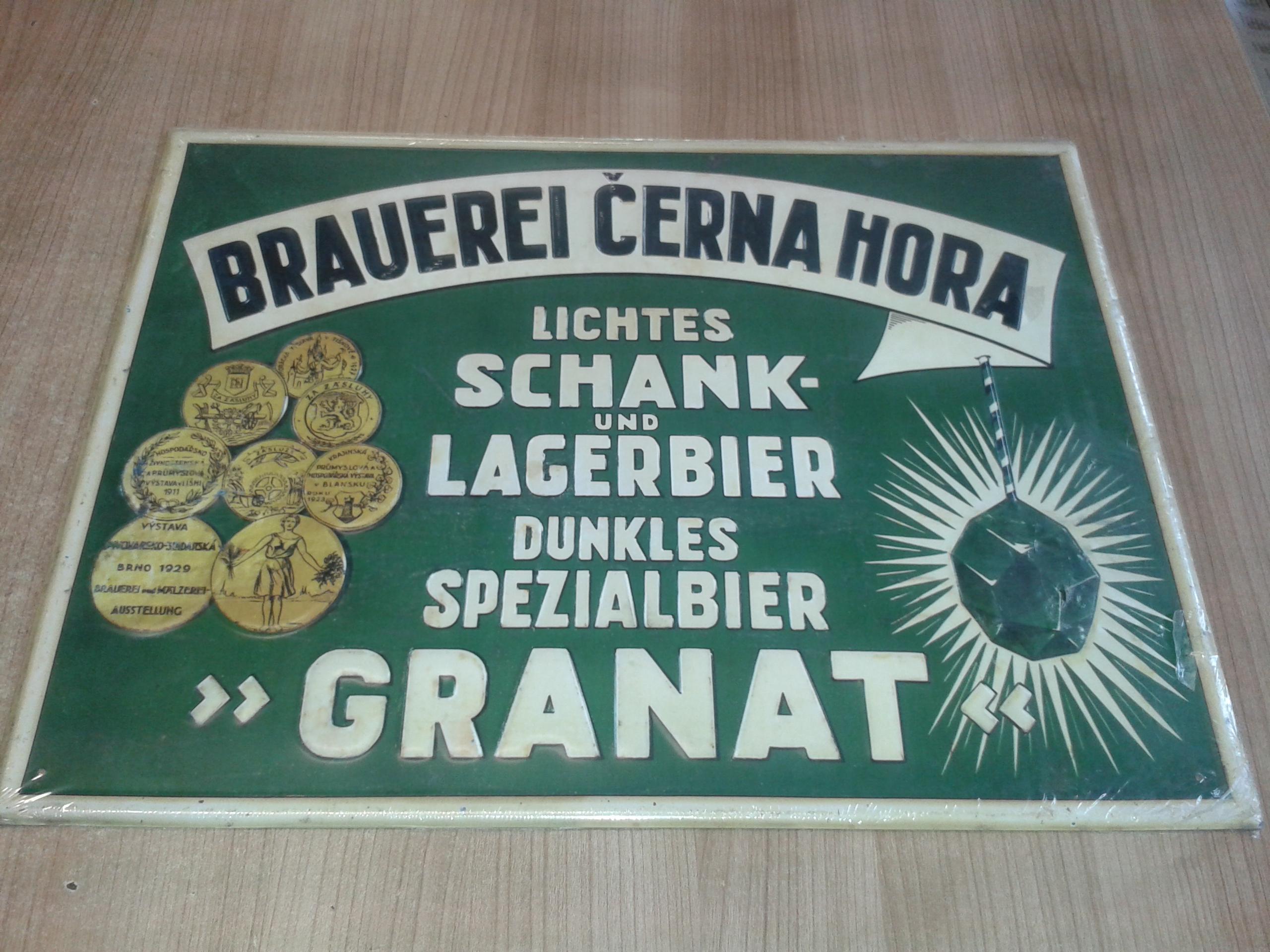 Plechová cedule pivovaru Černá Hora