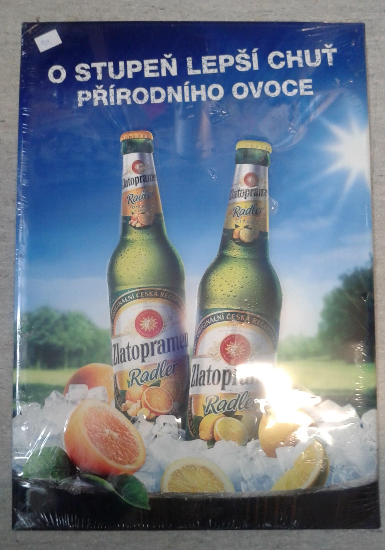 Plechová cedule pivovaru Zlatopramen - Radler