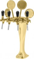 Výčepní stojan kovový 4xkohout - zlato