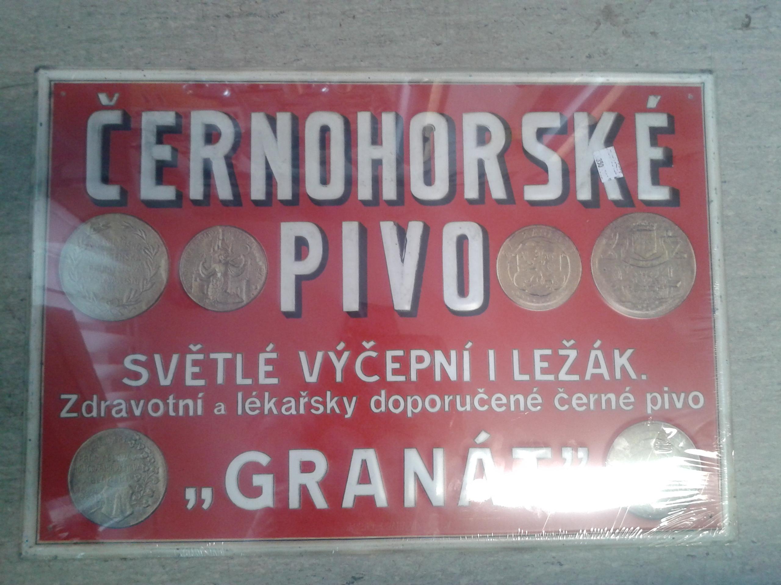 Plechová cedule Černohorské pivo
